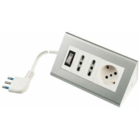 Presa Multipla da Scrivania Cucina con 3 Prese 2 m di Cavo e Presa USB 2.1 A
