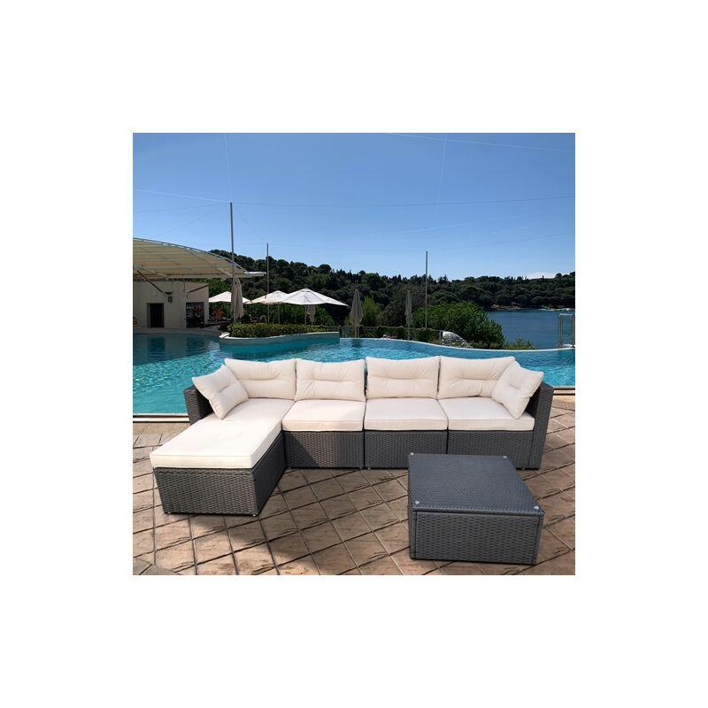 Polyrattan ALU Gartenlounge Anthrazit / Beige Gartenmöbel Sitzgruppe Sitzgarnitur - MUCOLA