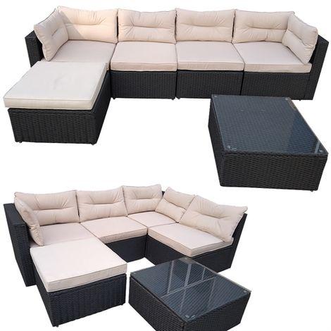 Polyrattan ALU salón de jardín antracita / beige muebles de jardín conjunto de asientos de grupo