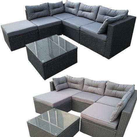 Polyrattan ALU salón de jardín antracita / gris muebles de jardín conjunto de asientos de grupo
