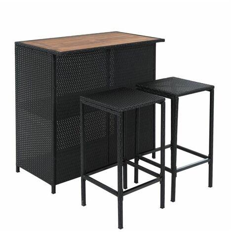 Polyrattan Bar Gartenbar Rattan Set Hocker Tisch Sitzgruppe Gartenmöbel Tresen