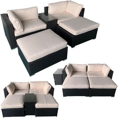 Polyrattan garden furniture sun lounger 5-pcs. double lounger garden sofa black rattan