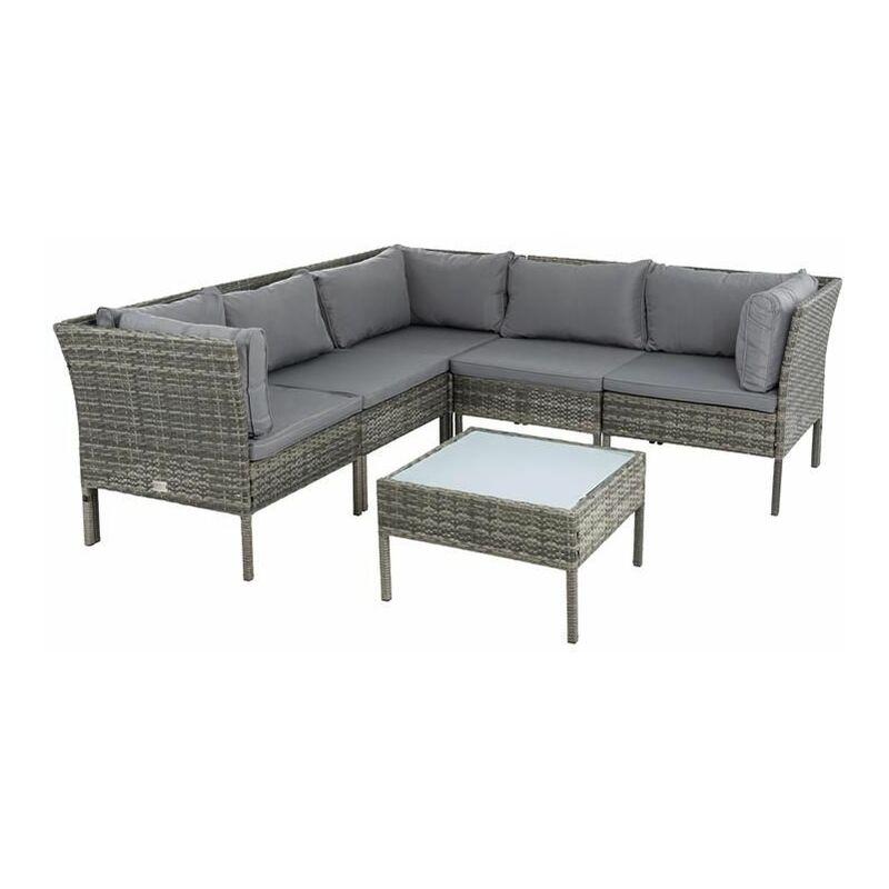 Estexo - Polyrattan Garten-Lounge Set Rattan Sitzgruppe Gartenmöbelset Gartenset Grau