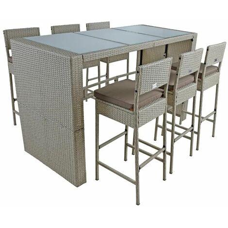 Polyrattan Gartenbar Set Rattan Barset Sitzgruppe Bar Tisch Hocker Beige