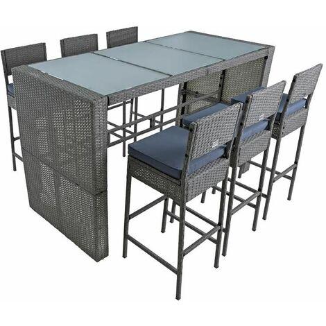 Polyrattan Gartenbar Set Rattan Barset Sitzgruppe Bar Tisch Hocker Grau