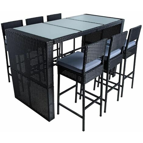 Polyrattan Gartenbar Set Rattan Barset Sitzgruppe Bar Tisch Hocker Schwarz