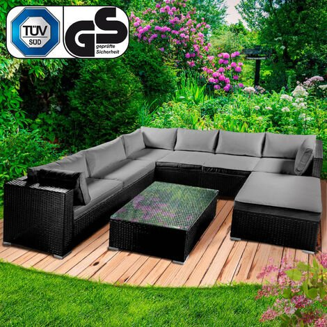 Polyrattan Gartenmöbelset 'LUXUS' schwarz
