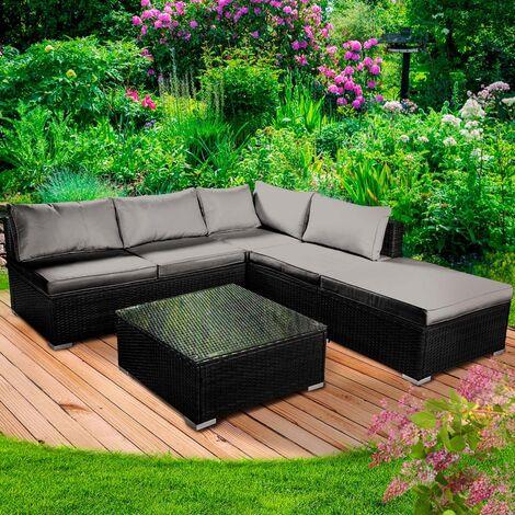 Polyrattan Gartenmöbelset OASE schwarz