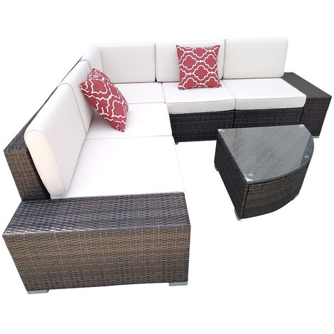 Polyrattan Lounge brown seating group seating furniture seating set garden suite / garden lounge / garden couch rattan furniture / garden sofa