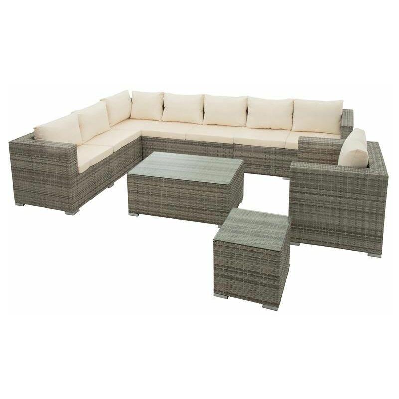 Estexo - Polyrattan Lounge Gartenmöbel Set Sitzgruppe Rattan Sitzgarnitur Gartenset Grau