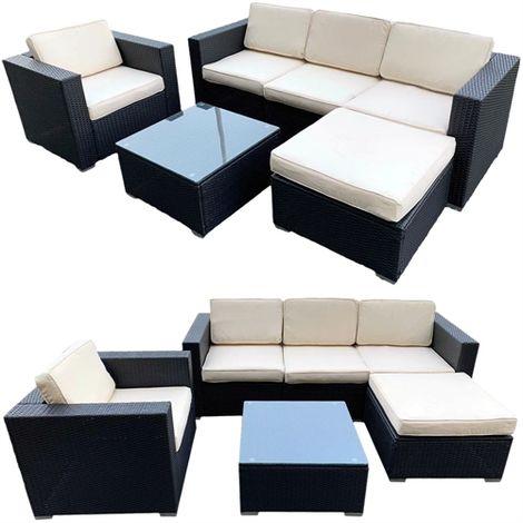 Polyrattan Lounge Seating Group Black / Beige/Cream Cushion Covers Seating Furniture Seating Set Garden Set Couch Garden Lounge Seating Furniture Garden Couch Rattan Furniture