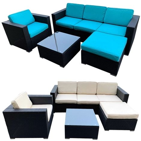 Polyrattan Lounge Seating Group Black / Turquoise & Beige Cushion Covers Seating Furniture Seating Set Garden Set Garden Lounge Couch Garden Lounge Furniture Garden Lounger Rattan Furniture