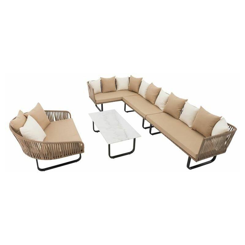 Estexo - Polyrattan Luxus Lounge Set Gartenmöbel Sitzgruppe Couch Garnitur Sofa Tisch