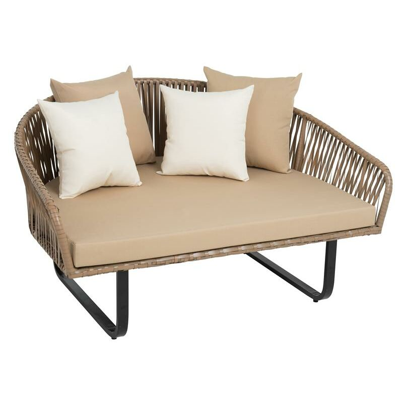 Fauteuil en polyrotin lounge îlot de jardin XXL fauteuil 140 cm ensemble rotin
