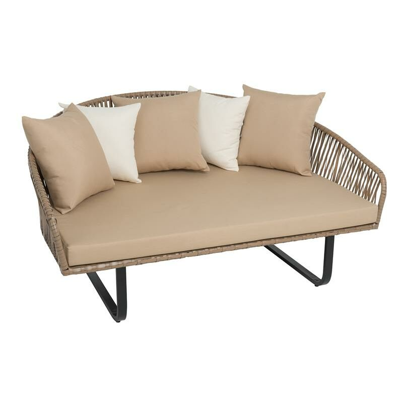 Fauteuil en polyrotin lounge îlot de jardin XXL 160 cm ensemble d'assise en roti