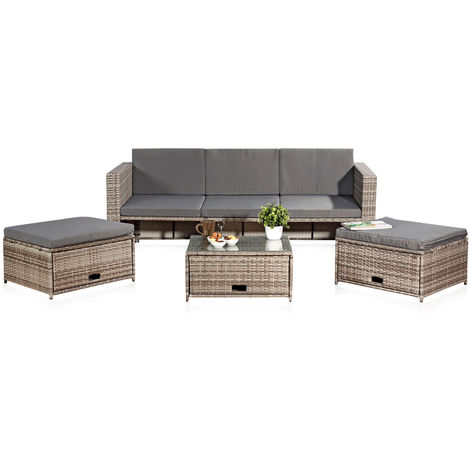 Polyrattan seating furniture set sofa table 2 stools grey lounge garden set rattan furniture