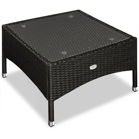 Polyrattan Side Table Tea Bistro Snack Table 58 x 58 x 42 cm Black