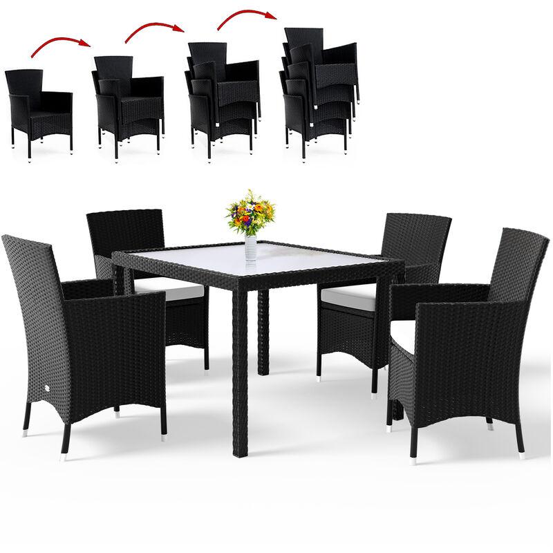 Poly Rattan 4+1 Sitzgarnitur stapelbare Stühle 7cm dicke Auflagen wetterfestes Polyrattan Gartenmöbel Sitzgruppe Garten Set - Casaria