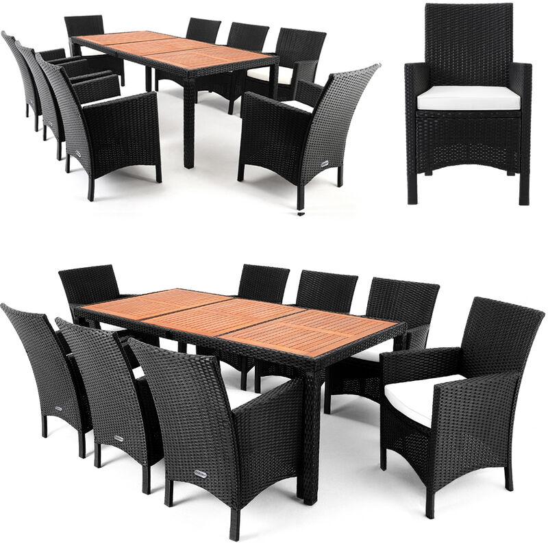 Casaria Poly Rattan Sitzgruppe Garten 8 Breite Stühle 7cm Auflagen Gartentisch Akazie Holz Gartenmöbel Set Schwarz