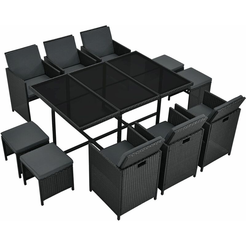 Polyrattan Sitzgruppe Baracoa XL 11-teilig wetterfest & stapelbar – Gartenmöbel Set mit 6 Stühle, 4 Hocker & Tisch für Garten & Terrasse | Juskys