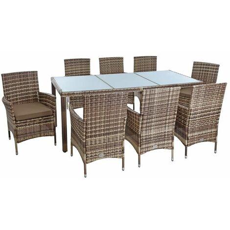 Polyrattan Sitzgruppe Gartenmöbel Set f. 8 Personen Rattan Gartenset Beige-Braun