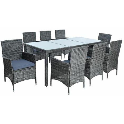 Polyrattan Sitzgruppe Gartenmöbel Set für 8 Personen Rattan Gartenset Anthrazit
