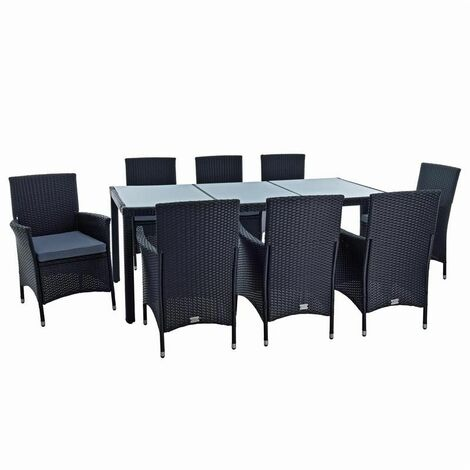 Polyrattan Sitzgruppe Gartenmöbel Set für 8 Personen Rattan Gartenset Schwarz