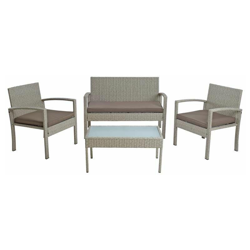 Polyrattan Sitzgruppe Gartenmöbel-Set Gartenset Gartenlounge Lounge-Set Beige - ESTEXO