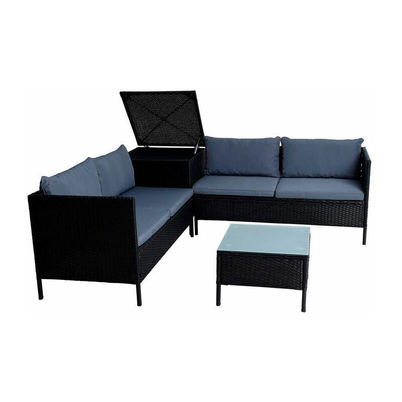 Polyrattan Sitzgruppe Gartenmöbel Set inkl. Auflagenbox Gartenset Box Schwarz - ESTEXO