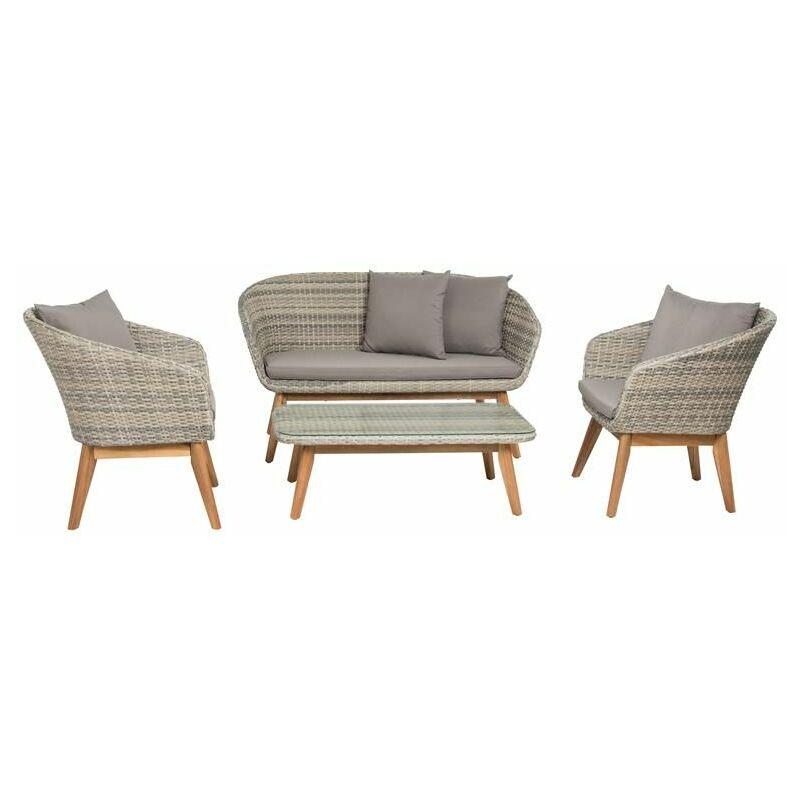 Polyrattan Sitzgruppe Gartenmöbel Set Rattan Essgruppe Lounge Retro Design Grau