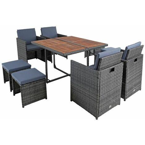 Polyrattan Sitzgruppe Gartenmöbel Set Rattanmöbel 8 Personen Gartenset Grau