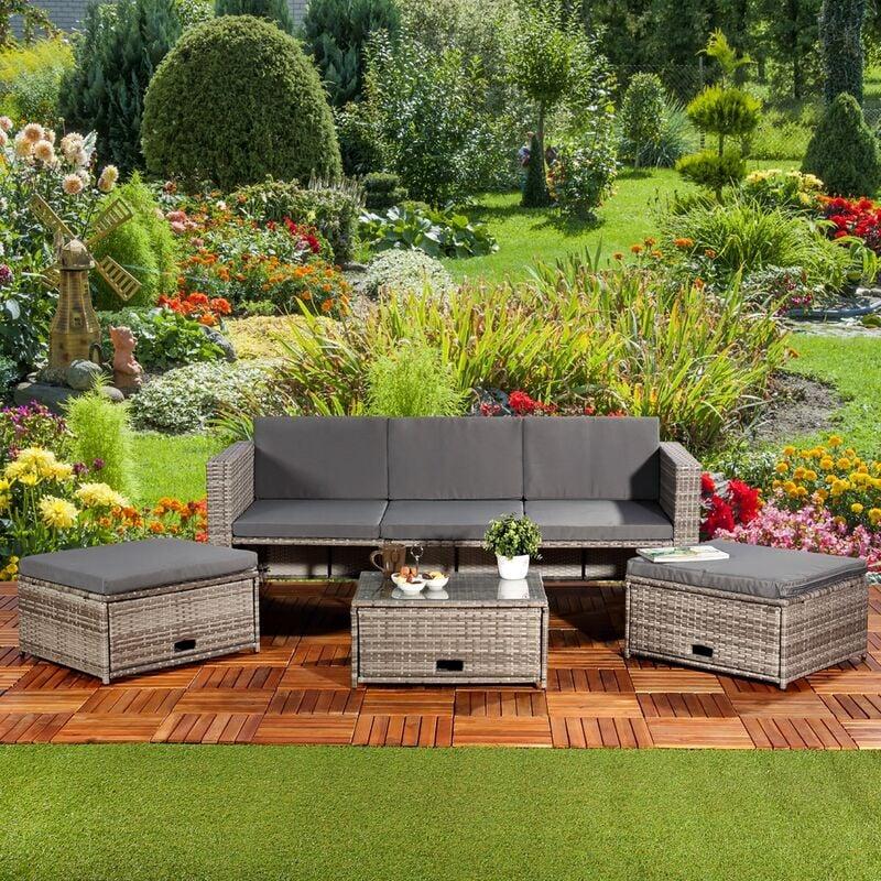 Polyrattan Sitzmöbel Set Sofa Tisch 2 Hocker grau Lounge Gartenset Rattanmöbel - MUCOLA