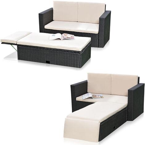 Polyrattan sofá de jardín y reposapiés plegable Sillón de salón muebles de jardín negro