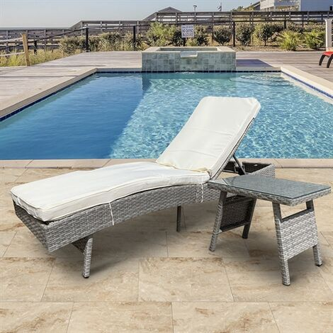 Polyrattan Sonnenliege Gartenliege verstellbar Terrassenliege Relaxliege Strandliege Balkonliege Loungeliege Liege Rattan grau inkl. Tisch - beige