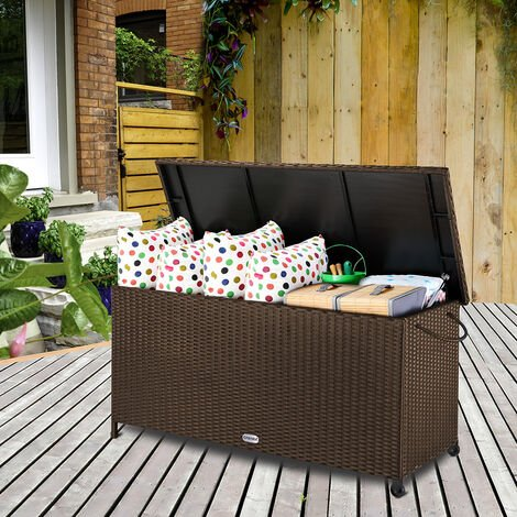 Polyrattan Storage Chest with Lifting Automatic and Inner Lining Black / Brown Brown