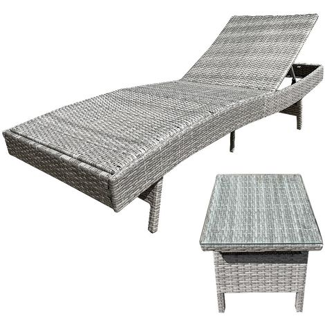 Polyrattan sun garden lounger adjustable grey incl. table - beige terrace lounger relax lounger beach lounger balcony lounger lounge rattan