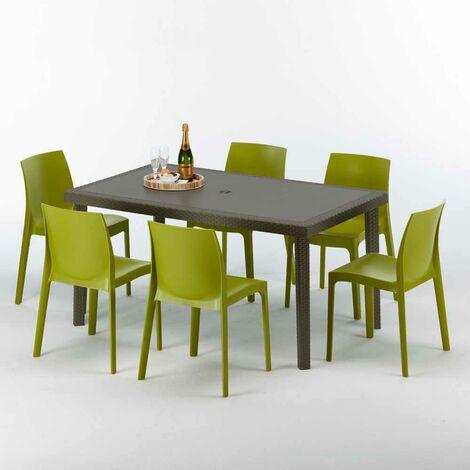 Polyrattan Tisch rechteckig mit 6 bunten Stühlen 150x90 Braun FOCUS