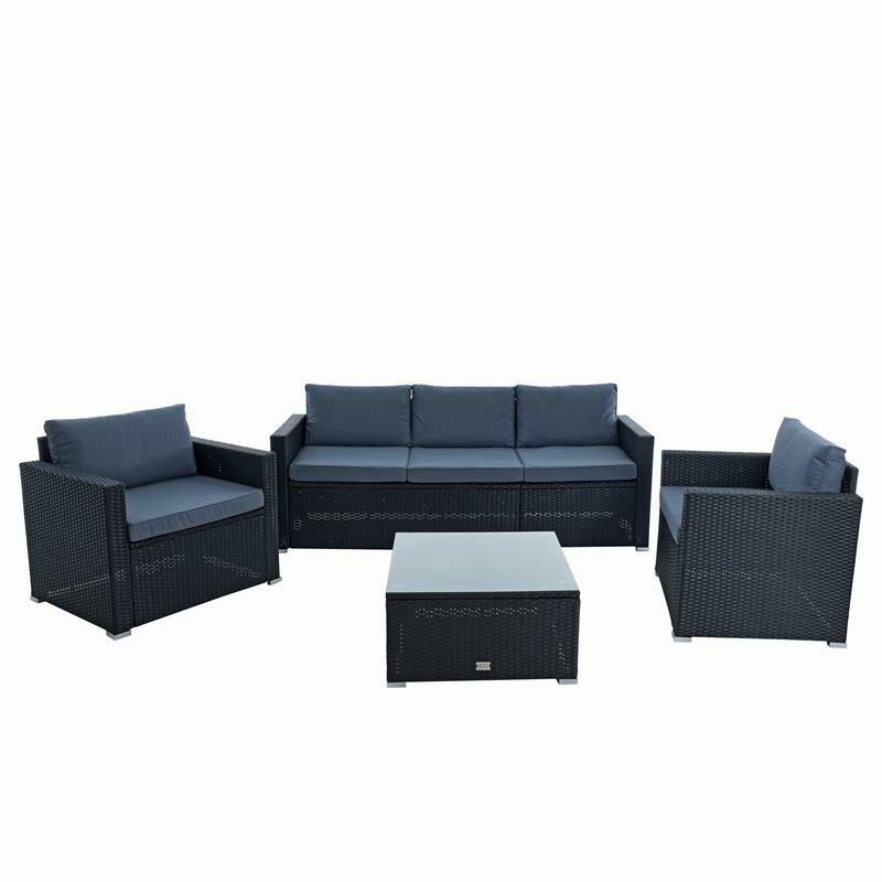 Polyrotin XXL Ensemble lounge de jardin Ensemble lounge de meubles de jardin noi