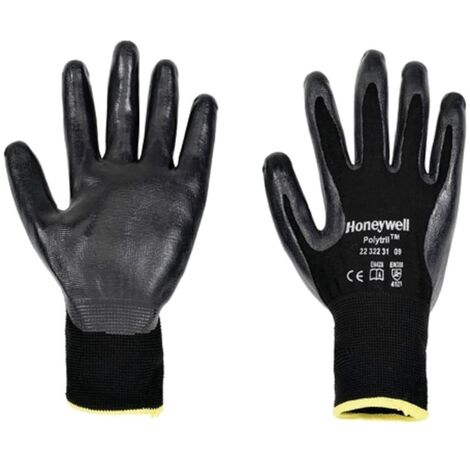 Polytril Black Nitrile Palm-side Coated Gloves