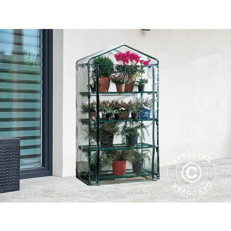 Polytunnel greenhouse w/4 shelves, 0.5x0.9x1.63 m, 0.45 m², Green/Transparent