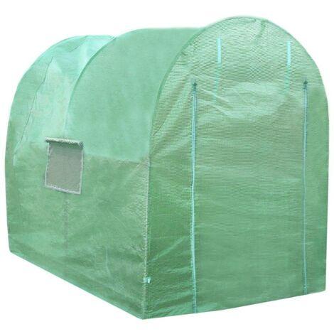 "main image of ""Polytunnel Greenhouse Walk In Galvanised Windows Doors Growhouse PE Cover Gardening Metal Frame Outdoor Garden Tent Vegetable Flower Plant 19mm Diameter   4 x 2m"""