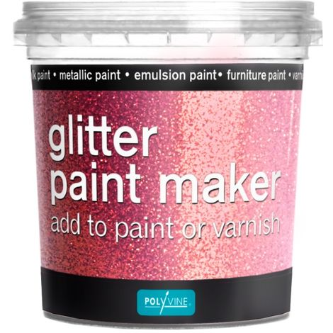 Polyvine Glitter Paint Maker Gold, Pink, Rainbow & Silver for Varnish or Paints