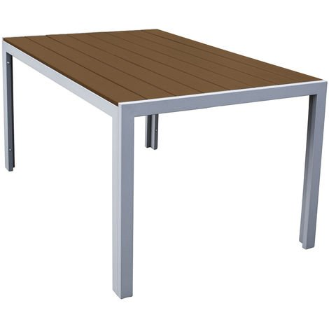 Polywood Natural Outdoor Dining Table with Metal Frame - Patio Garden Furniture