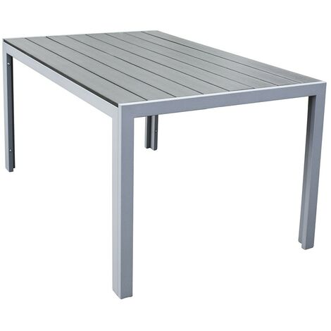 Polywood Outdoor Dining Table Durable Garden Furniture Aluminium Frame in Grey