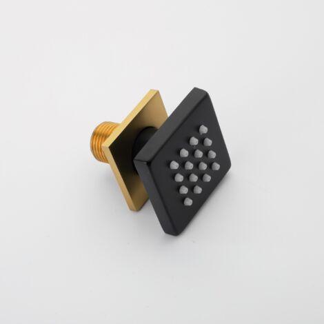 Pommeau de douche, carré or noir