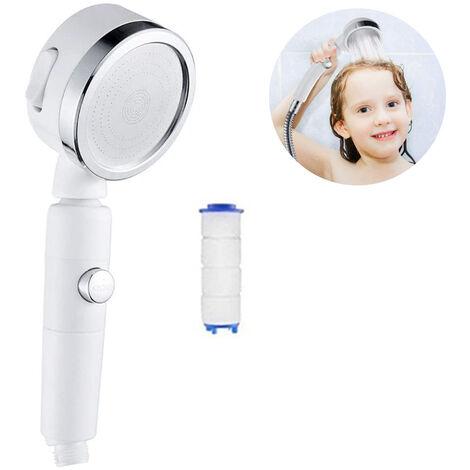Pommeau de douche haute pression, pomme de douche à main avec bouton-poussoir d'arrêt complet marche / arrêt et interrupteur pour contrôler le débit, sprays corporels à économie d'eau à angle réglable