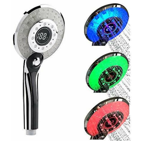 Pommeau de Douche LED, Douchette de Douche LED 3 Couleurs Contrôle de la température Douchette à Main avec Affichage