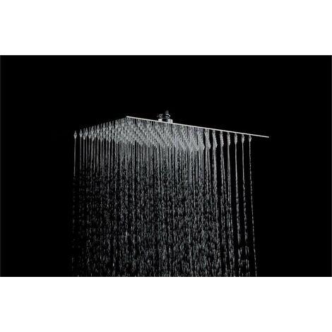 Pommeau de douche rectangulaire 300 x 200 Piralla Rubinetterie LS300200   Chromé