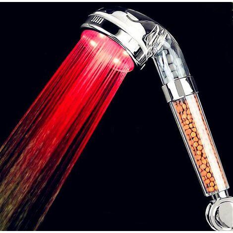 Pommeau Douche,7 Couleurs LED Changement,Douchette de Douche LED Salle de Bain Spa - haute pression economie deau- Haute Filtration avec Trois Niveaux Ionique Négative Prévention,Facile à utiliser