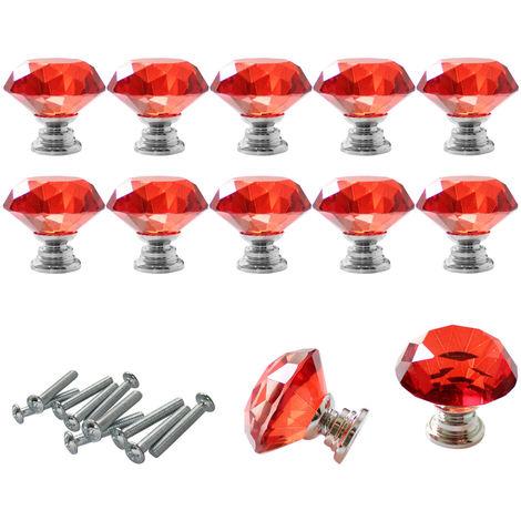 Pomo de Cristal - 10 Piezas 40 mm (Rojo)Tirador Cajon Puerta Mueble Cocina Pomos de Cristal con Tornillo para Casa Oficina Pecho Gabinete Cajón Mueble